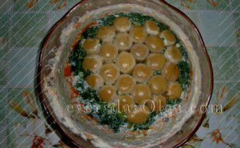 салат грибная полянка с шампиньонами и курицей