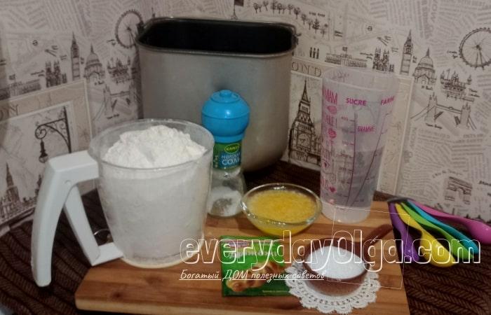 ингредиенты для батона в хлебопечке