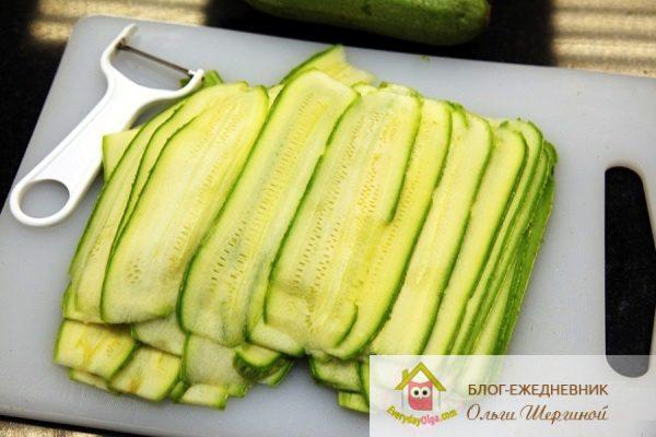 кабачки нарезанные овощечисткой
