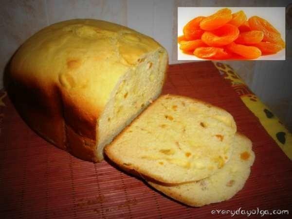 сдобный хлеб с курагой в хлебопечке