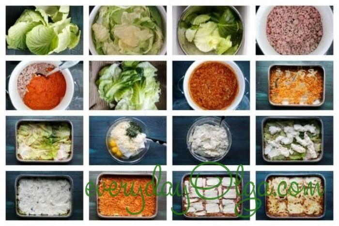 этапы готовки капустной лазаньи